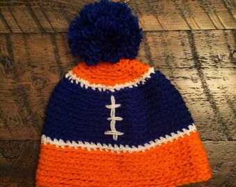 Crochet Beanie with Pompom - Broncos