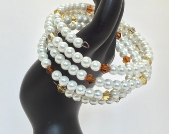 Elegant Pearls and Crystal wrapped Bracelet - Handmade Jewelry - gunmetal wire - wrapped bracelet
