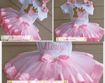 Princess Minnie Pink Polka Dot and Gold Birthday TuTu Set;1/2 Birthday 1st Birthday;2nd Birthday;FREE Personalization