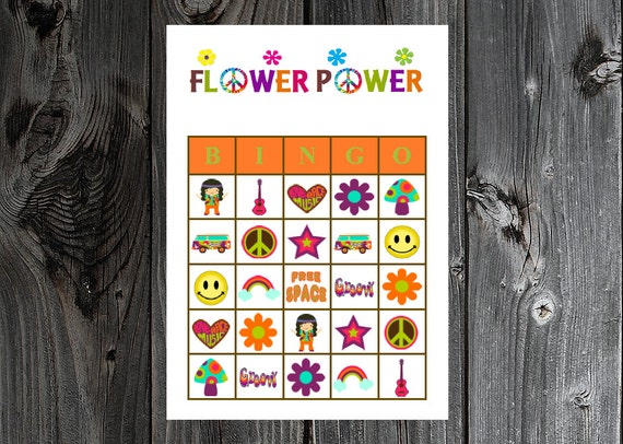 flower power bingo 30 printable hippie retro 60s 70s party