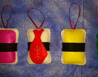 Set of hand crafted sushi felt ornaments