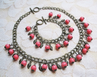 Pink Coral Jewelry Pink Coral Necklace Ethnic Bracelet Vintage Jewelry Beaded Gemstone Jewelry Mother Gift Wedding Jewelry FREE SHIPPING