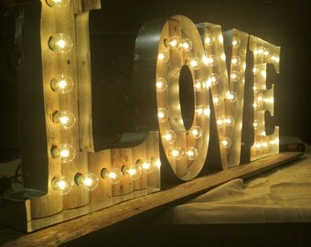 Handcrafted Light-Up LOVE Sign
