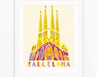 Barcelona poster, Sagrada Familia, City poster, Travel poster