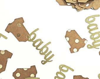 Baby shower confetti.  Gender reveal confetti.   Baby confetti.   Gold baby confetti.   Name confetti