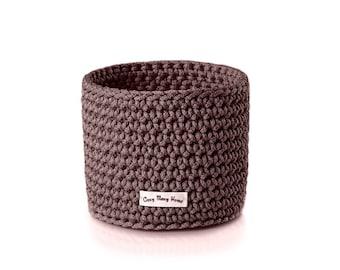 Kids room basket - Crochet rope basket - Storage basket - Storage bin - Woven basket - Bathroom basket - Brown basket - Kitchen basket