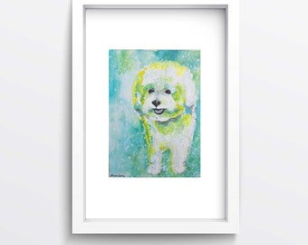 Wall Art Professional Print Small Watercolor Acrylic Bichon Frise White Dog Puppy Portrait Living Room Office Bedroom Decor Gift for Friend