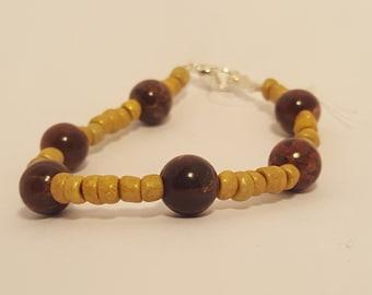 Natural Poppy Jasper and Wood Bead Bracelet