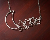 Moon and Stars, custom fine silver pendant