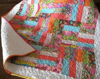 Colorful baby quilt, lap throw, couch quilt