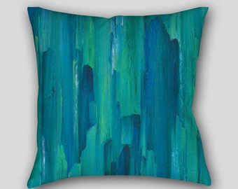 Designer throw pillow, Teal turquoise, Blue green, Home decor, Abstract art, Decorative Accent Pillow finished Cover Case Sofa cushion Couch
