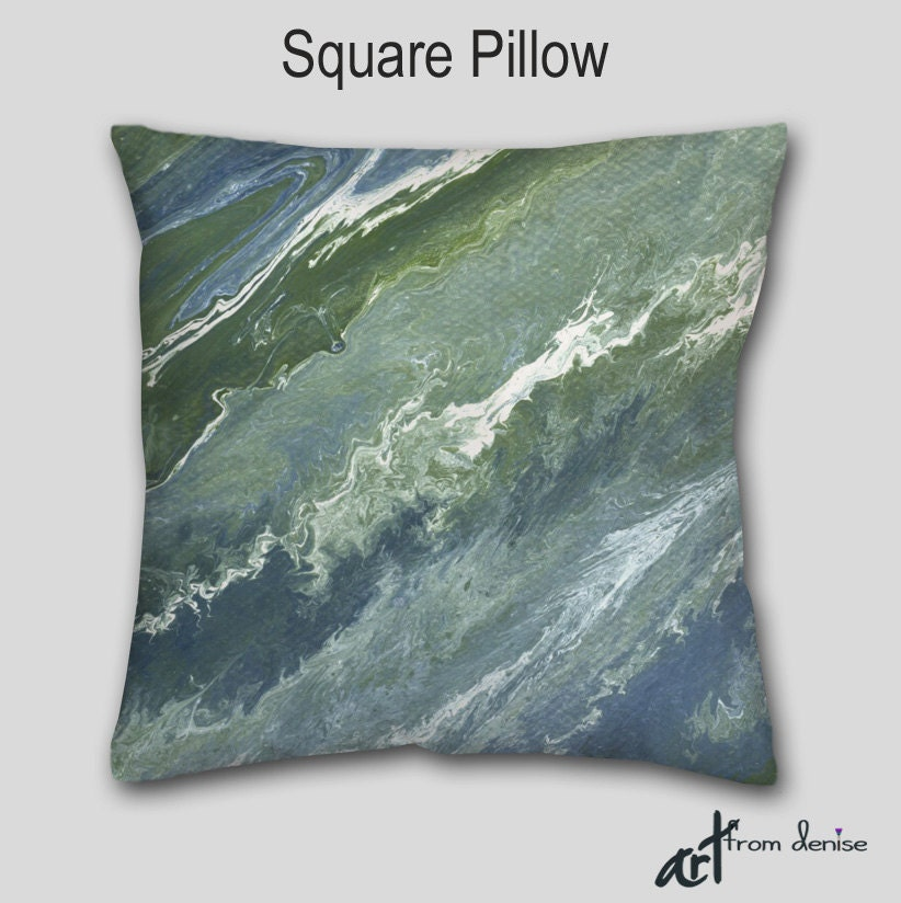 Throw Pillows For Sage Green Couch : Navy blue Decorative Throw pillow Abstract art Sage green