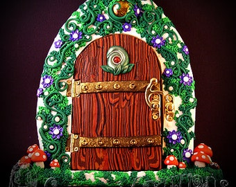 Fairy Door large, Handmade with Polymer Clay, with little glow in the dark mushrooms on a strong sturdy wooden base with a beautiful Latch