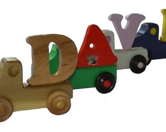 Wooden Name Truck,Childs Name Toy,Name Truck