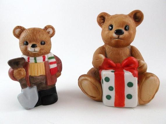 Vintage Porcelain Christmas Figurine Teddy Bear Collectible Figurines Set of Two Bears Christmas Decor Home Decoration Homco Nursery Decor