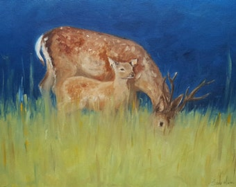 12 x 16' in, Limited Edition Print, 'Sheltered', Original oil painting of Stag and fawn