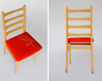 50s Mid-Century Beechwood Dinning Chair Newly Restored | Upholstered in Reddish Orange Embroidered Cotton Fabric