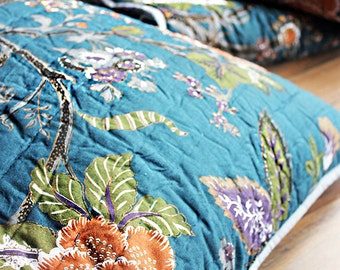 Large Quilted Cotton 65 cm x 65 cm Throw Pillow Cover in Floral Print