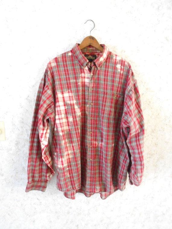 Bleach Stained Distressed Oversized Red Plaid Cotton Flannel