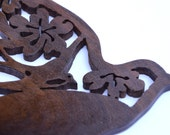 Hand Cut Walnut Sparrow with Flowers