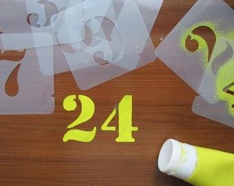 Number Stencils Numerals Stencil Set 40,50,75,100,125,150 mm different fonts
