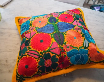 Embroidered brightly coloured cushion covers from Chiapas