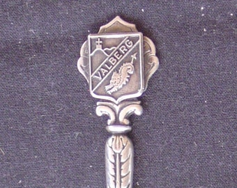 Valberg, France with Crest (top) on Silver Souvenir Spoon