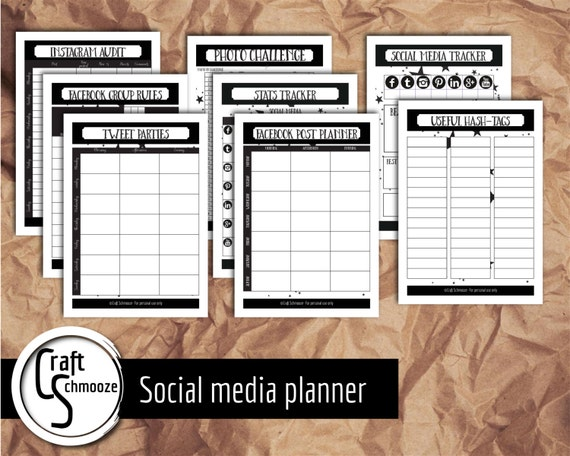 Social media planner pages -  Instant download printables- bloggers and Etsy shops