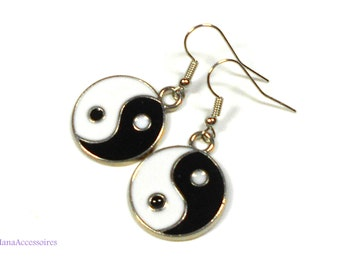 Silver * Yin Yang earrings * enameled earrings