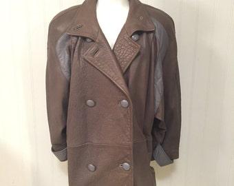 Vintage Leather Trench Coat Women's Medium