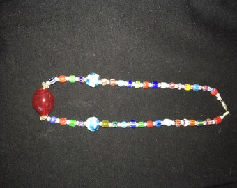 Handmade Mille Fiori And Ruby bead Necklace