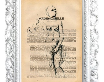 Naked woman. Print on French publication of illustration. 28x19cm.