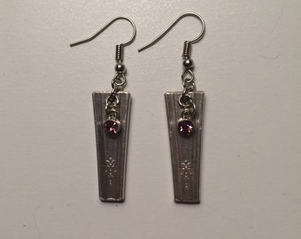 Spoon Handle Earrings with Pink Crystal Charm
