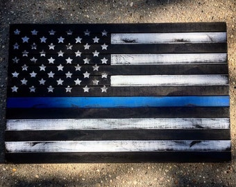 Police Blue Stripe American Flag