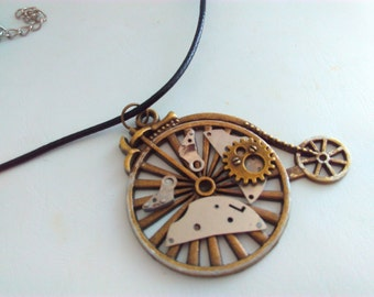 Penny farthing, necklace, penny farthing pendant, steampunk, Steampunk necklace, handmade steampunk, bikes, penny farthing, bicycle, #3