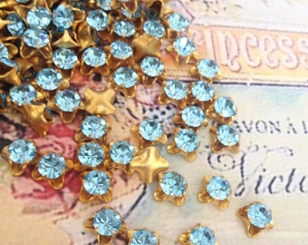 10 vintage aqua swarovski austrian crystals in brass setting 8mm  no.sf26aq-4