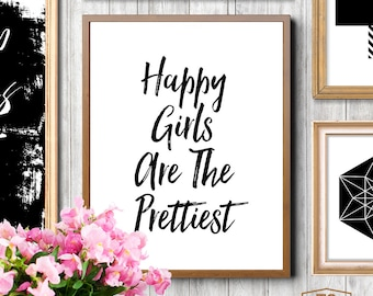 "Printable art ""Happy Girls Are The Pretties"" typography art print inspirational quote nursery decor Audrey Hepburn quote"
