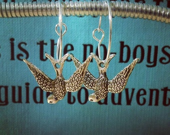 Swallow Charm Hoop Earrings