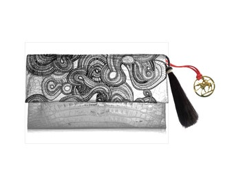 Spiral  Clutch 100 % Leather printed