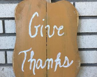 "Wooden Pumpkin, ""Give Thanks"""