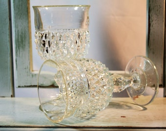 Diamond Point, Clear Goblets, Stemmed Tumbler, Indiana Glass Co, Clear Glassware, Barware, Mid Century Glass