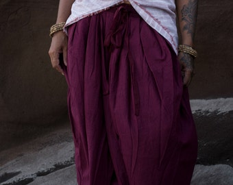 DHOTI PANTS Mahogany Women Khadi Pants Earthy Clothing Organic Natural Hand Woven Tribal Clothing Harem Dhoti Indian Pants