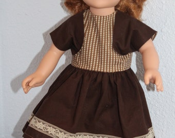 Brown cotton dress with shrug