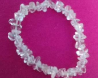 "7"" Genuine Gemstone Bracelet - Rock Quartz, Smokey Quartz, Amethyst"