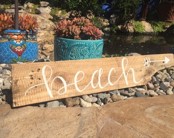 Beach Sign, Reclaimed Wood Beach Sign, Wood Beach Sign