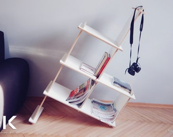 BookStand | Modular BookCase | Modern Furniture | White or Natural plywood | Modern Bookcase - MADEasy collection HALFEX