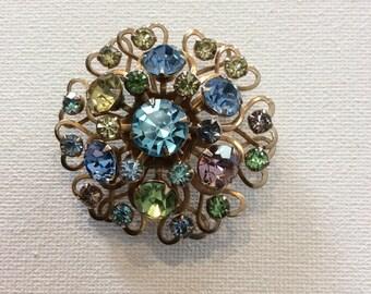 Vintage mid-century multi-stone broach pin