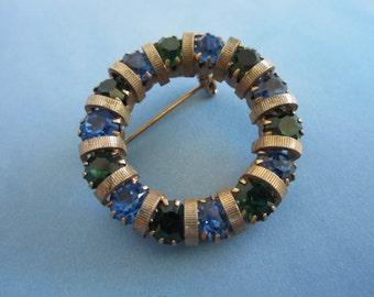 Circular Pin with Sapphire and Emerald Green Rhinestones