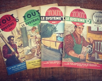 "Vintage French magazine - system - 1952 & 1953 - 4 ""all the system"" numbers - Magazine french illustrated DIY"