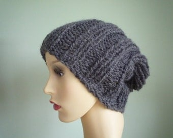 Hand knit grey slouchy hat, wool and alpaca